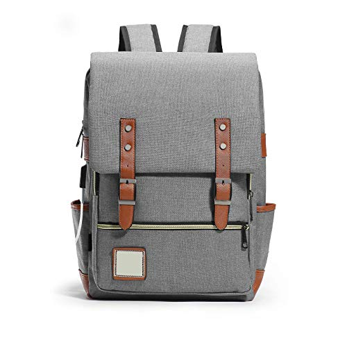Laptop Vintage Backpack Water Resistant Business Travel School Rucksack Grey