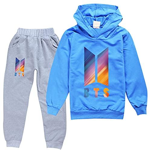 BTS Felpa e Pantaloni Set Bambini Pullover Tuta Abiti BTS Merch, Blu, 11-12 anni