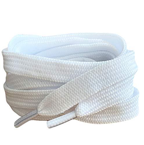 Pimp My Shoes weiß farbige Flach Schnürsenkel für Sportschuhe Skate Schuhe, Hi Tops, Schuhe Stiefel Converse Nike Converse Puma Schnürsenkel Schnürsenkel sind 10 mm breit Weiß white