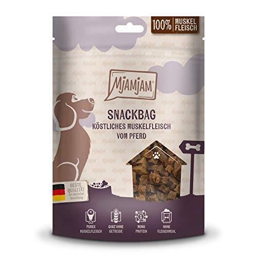 MjAMjAM - Premium Hundesnack - Snackbag - köstliches Muskelfleisch vom Pferd, getreidefrei, Monoprotein, 100g, 45206