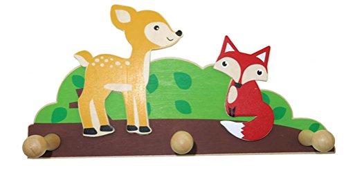 Inware 22998 - Garderobe bosdieren, van hout, 3 hangers, kindergarderobe