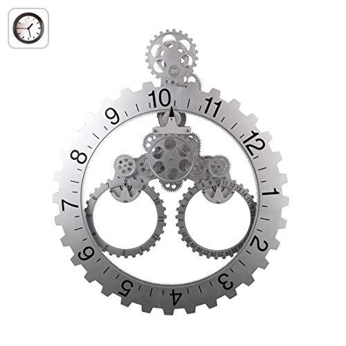FDYD Wand-tandwiel-klokhouder met beweegbare tandwielen, kwarts, rustig, decoratieve premium kunststof met kalender lezen (wit tandwiel)