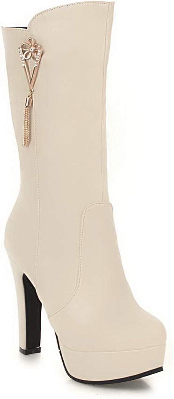 AN Womens Square Heels Chunky Heels Metal Buckles Urethane Boots DKU02392