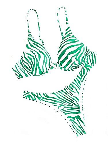 Aeromdale Bikini Set Dos Piezas Patrón Zebra Traje De Baño Para Mujer De Talle Alto Traje De Baño De Playa Bañadores - Verde - S