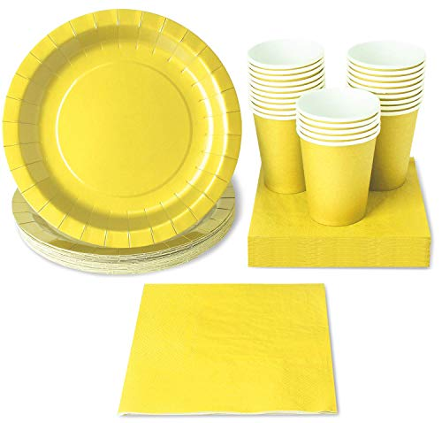 Yellow Party Supplies - 24-Set Paper Tableware - Disposable Dinnerware set for 24 Guests, Including Paper Plates, Napkins and Cups, Yellow