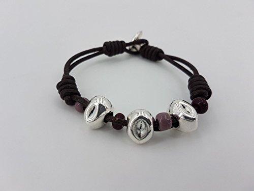 Leather bracelet, woman bracelet, zamak bracelet