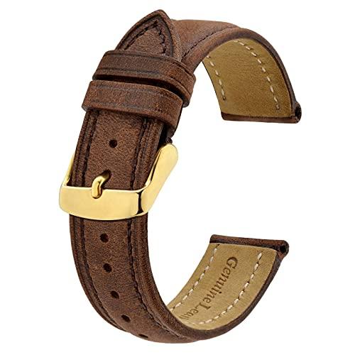BISONSTRAP Correas de Reloj Vintage con Hebilla de Oro, Correa de Repuesto de Cuero 20mm (Marrón)