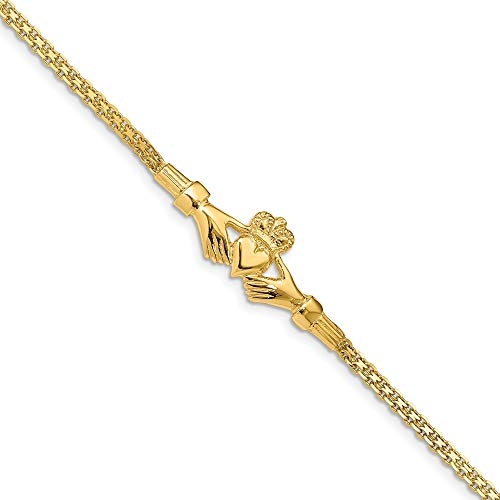 14k Yellow Gold Irish Claddagh Celtic Knot Bracelet 7 Inch Fine Jewelry For Women Gifts For Her