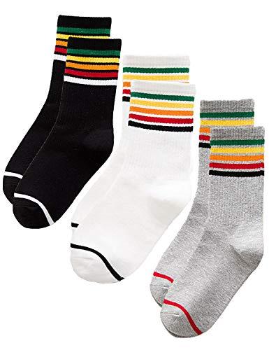 ZYHstore 3 Paar Damen Regenbogen Streifen Socken Baumwollsocke Mädchen Winter Warm Socken Sport-Socken