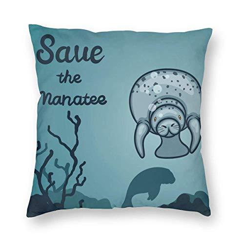 LuoYangShiLaoChengQuTianYuGangCaiXiaoShouBu Crazy Save Manatee - Funda de cojín cuadrada, de felpa, suave, para decoración del hogar, sofá, dormitorio, coche, 45 x 45 cm