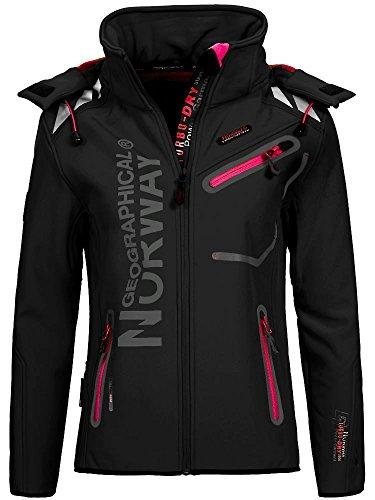 Geographical Norway Romantic Turbo-Dry - Chaqueta para mujer (softshell, con capucha extraíble) Color negro y rosa. L