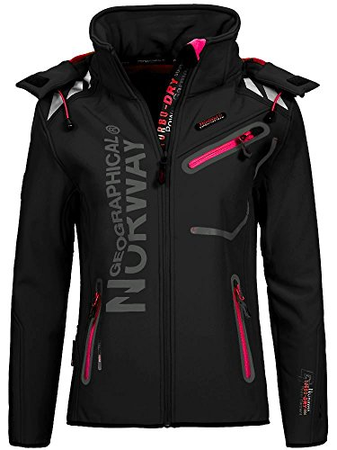 Geographical Norway Romantic Turbo-Dry - Chaqueta para mujer (softshell, con capucha extraíble) Color negro y rosa. L