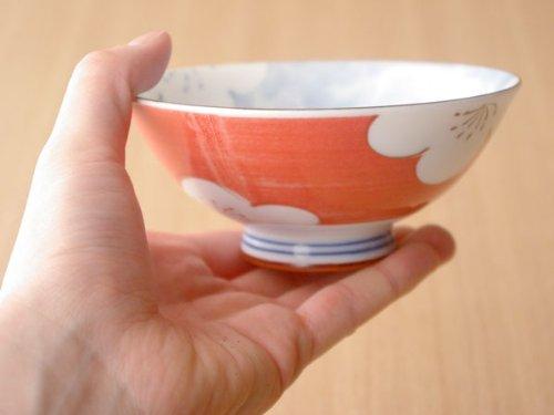 和食器飯碗<梅の花赤>