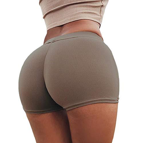 SHOBDW Pantalones de Verano Mujeres Shorts Deportivos Gimnasio de Moda Workout Waistband Skinny Yoga Short Pants (M, Café)