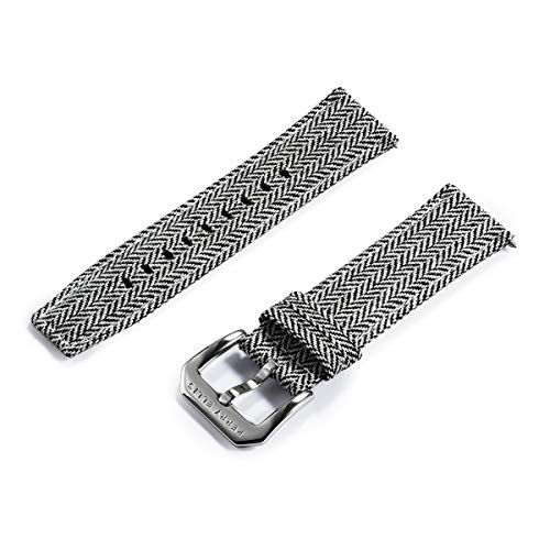 Perry Ellis Watch Band Quick Release Strap Replacement 24mm Soft Cloth Wool Fabric Canvas Watch Strap with Genius Leather Watch Bands for Men Women Kids Watch Smartwatch LS02