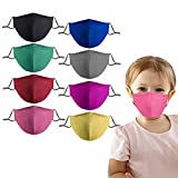 Kids Cloth Face Mask Washable Reusable Cute Children Face Masks Adjustable 3 Ply Face Cover for Girls Boys Pack of 8