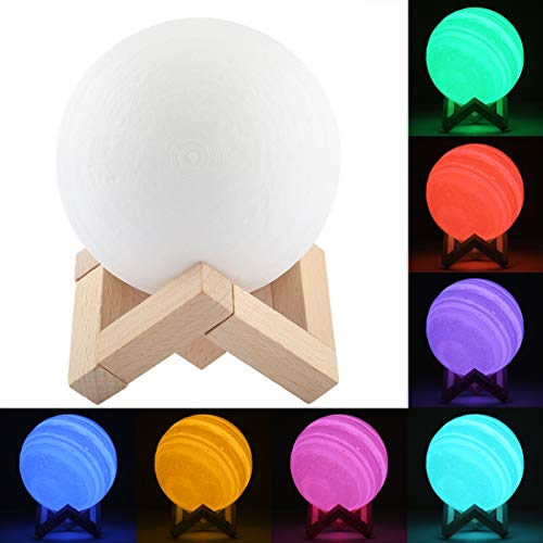 Night-Lights Creative 10cm Patted 3D Print Jupiter Lamp, USB Charging 7-Color Changing Energy-Saving LED Night Light with Wooden Holder Base