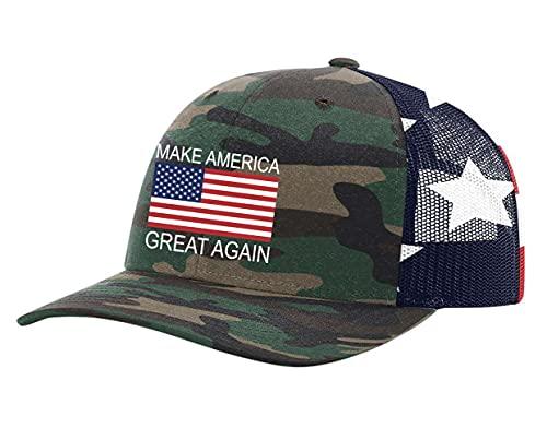 Chapéu com bandeira americana Donald Trump Make America Great Again, Malha camuflada/bandeira americana, One Size-X-Large
