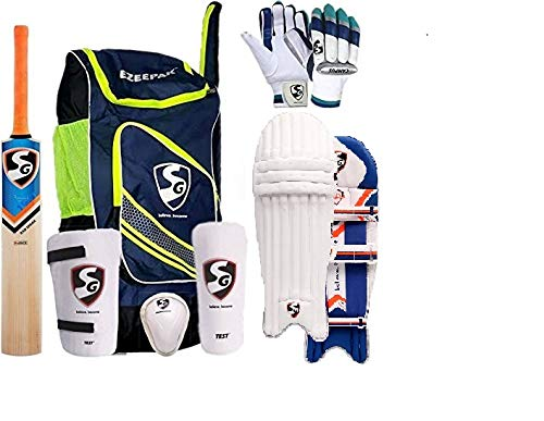 SG Cricket Kit Full Set for Adults with Ezeepak Bag with Fast Delivery RSD Spark Kashmir Willow Bats+Batting Leg Guard Pads+Batting Gloves+Abdominal Guard+Thigh pad Guard+kit Bag