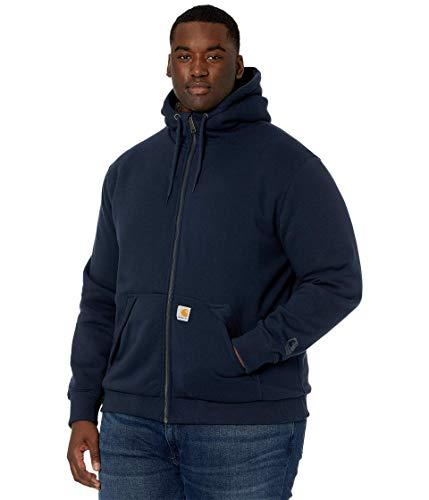 Carhartt Men's Rain Defender Rockland Sherpa Lined Hooded Sweatshirt, New Navy, Small