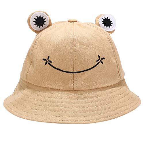 Myya Sombrero De Olla De Rana De Dibujos Animados Lindo Para Niños Sombrero De Cubo De Animal Lindo Color Sólido Protector Solar De Ala Ancha Se Puede Empaquetar Sombrero De Pescador De Playa Ajustabl