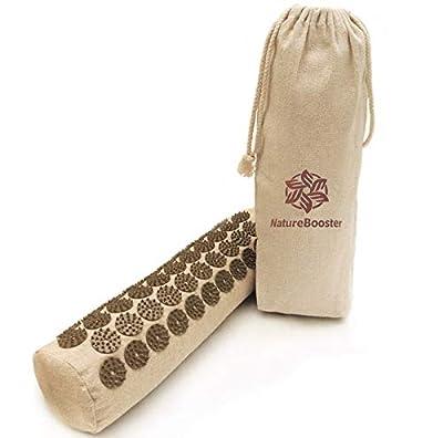 NatureBooster Organic Linen Acupressure Pillow Cervical Roll Bolster Pillow for Neck Pain and Migraine (Intensive, Pillow)