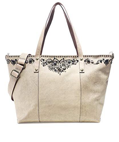 Campomaggi Mujeres bolso de cuero tachonado para compras Beige One Size