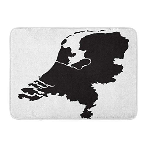 Zome Lag Deurmat Ingang Mat Badkamer Tapijt Badmat Holland van Nederlandse Kaart Land Zwarte Cartografie Contour Gedetailleerde Badkamer Decor Tapijt Badmat 60x40cm