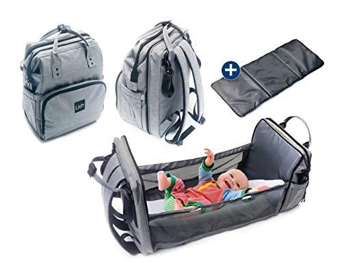 LIKIE Wickelrucksack mit Bettfunktion | Wickeltasche mit Babybett für unterwegs | Bett Rucksack mit grosser Babytasche für Reisen | Mommy Baby diaper bag grau
