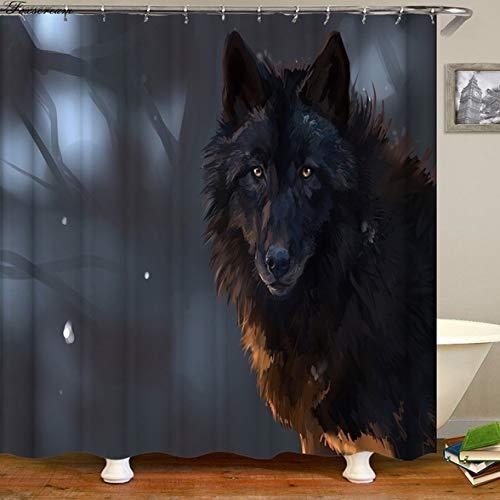 Bumpy Road Wolf Badezimmer Duschvorhang Neue wasserdichte Badezimmer Gardinen Bad Duschvorhänge Stoff 3D Duschvorhänge oder Matte