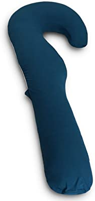 Genki life 抱き枕 抱き枕カバー J型専用 本体なし without pillow only case 無地 洗えるカバー 通気性がいい 160cm ジャージー ネイビー