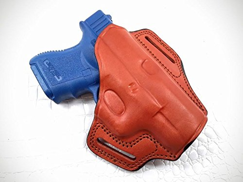 MyHolster Gazelle - OWB Leather 2 Slot Molded Pancake Belt Holster for Glock 26/27/33