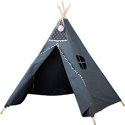 Kids Tent, Tents Gray Indian Tent, Children's Room Reading Corner Conical Play House Children's Play Tent with White Ball - 39 * 39 * 59 Inch - Kids Teepee (Color : Gray, Size : 100 * 100 * 150CM) fa