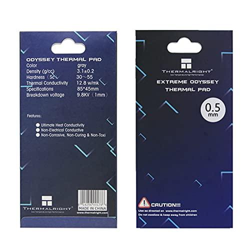 One enjoy Thermalright Pad Termico 12,8 W MK, 85x45x0.5mm Thermal Pad, Pad Termici in Silicone per dissipatore di Calore GPU CPU LED (0.5mm)