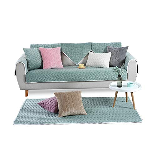 PETCUTE Fundas Sofa Chaise Longue Cubre Sofa Acolchado Fundas para Sofa sin Brazos Antideslizante Verde 90X160cm