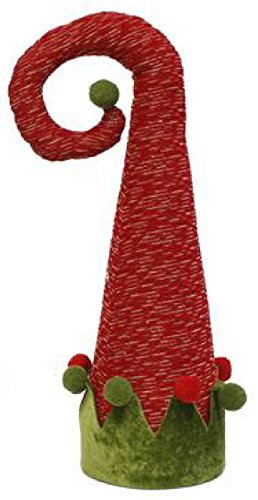 Elf Hat Christmas Tree Topper (18', Red, Moss, Gold)
