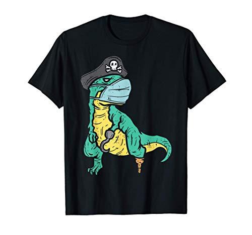 Pirate T-Rex Dinosaur Dino Face Mask Halloween Boy Costume Maglietta