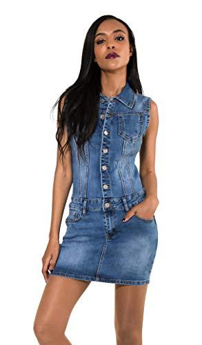 Nina Carter S388 Damen Jeanskleid Kurzes Denim-Kleid Slim Fit Jumpsuit-Kleid (Blau (Blue S388-5), S)