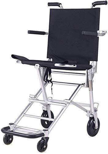 IGOSAIT Rollstuhl / Rollstuhl, tragbar, zusammenklappbar, ultraleichter Aluminiumrahmen in einer Tasche mit Handbremsen und höhenverstellbaren Fußstützen, Gewicht nur 6,2 kg