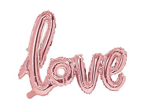 PartyDeco- Palloncino Foil Mylar Sagomato Scritta Love Oro Rosa, 73 x 59 cm, Colore, FB15M-019R