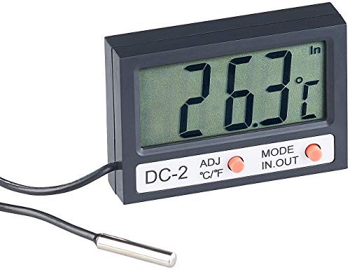 infactory Aquarienthermometer: Digitales Aquarium-Thermometer mit Uhrzeit und LCD-Display, 1 m Kabel (Thermometer Wasser)