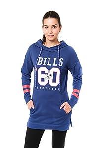 Ultra Game Women's NFL Tunic Hoodie Pullover Sweatshirt Terry, Buffalo Bills, Royal, X-Large