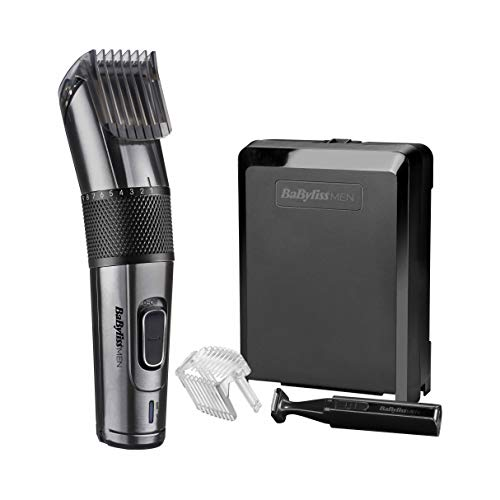 BaByliss MEN E978E Tagliacapelli con Lame in Titanio al Carbonio, a Rete/Ricaricabile, Mini Trimmer di Precisione Incluso, 26 Altezze di Taglio da 0.5 mm a 25 mm, Lame Lavabili, Custodia Rigida
