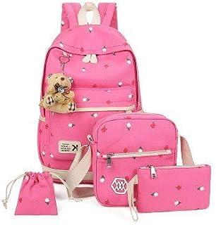 4Pcs Fashion Prints Canvas School Rucksack Backpack Set for Girls Elementary Bookbag