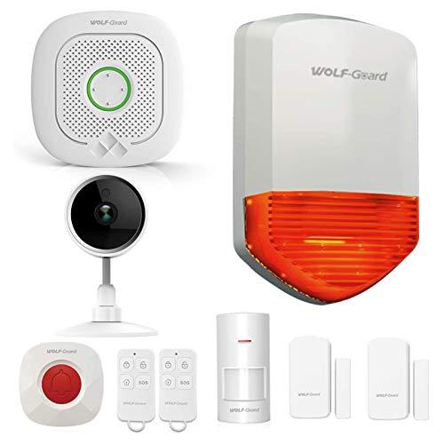 Wolf-Guard WS-03 - Sistema de alarma WiFi para el hogar con cámara inteligente, timbre de puerta, alarma abierta de puerta, sensor de movimiento y sonido (110 db)