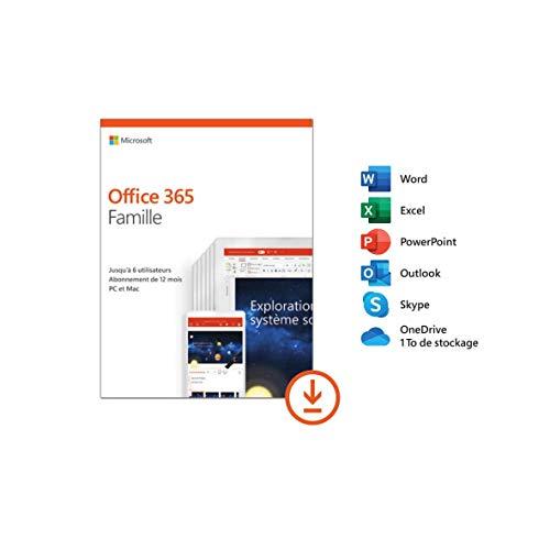 Microsoft Office 365 Famille | jusqu'à 6 utilisateurs | 1 an | téléchargement