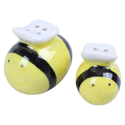 Baalaa Juego de salero y pimentero de cerámica con patrón de abejas,...