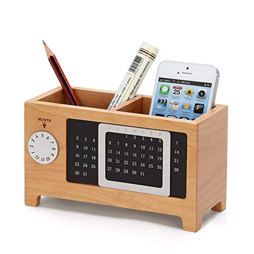 Organizador de escritorio organizador de almacenamiento organizador de escritorio de madera con 2 compartimentos para bolígrafos, portalápices (color: nogal, tamaño: 18,5 x 7,9 x 9,7 cm) escritorio