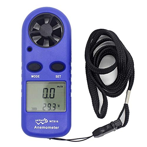 Digital Windmessgerät Anemometer Thermometer Digital-Anemometer LCD Windgeschwindigkeitsmesser Handheld Luftströmungsgeschwindigkeits-Thermometer für RC-Drohnen Hubschrauber Windsurf Kite Fliegen Sege