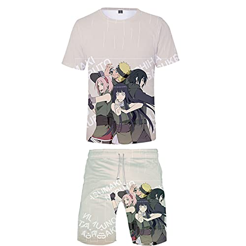 ZOSUO Anime NARUTO Sport Round Neck T-Shirt 2-Piece Set Shorts And Short Sleeve Top Suit Anime Cosplay Yamanaka Ino Summer Youth Tees Tracksuit,Multi colored,XL